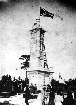 Survivors of the Battle of Olustee at the monument dedication on October 23, 1912.