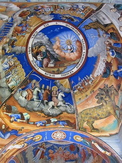 Apocalypse depicted in Christian Orthodox traditional fresco scenes in Osogovo Monastery, Republic of North Macedonia