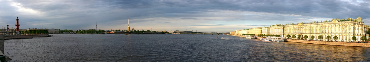 The Neva River flows through much of the centre of the city. Left – the Spit of Vasilievsky Island, center – River Neva, Peter and Paul Fortress and Trinity Bridge, right – Palace Embankment with the Winter Palace