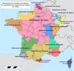 The regional Parlements in 1789; note area covered by the Parlement de Paris