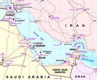 Map of the Persian Gulf. The Gulf of Oman leads to the Arabian Sea. Detail from larger map of the Middle East.