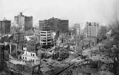 Ruins from the 1906 San Francisco earthquake, remembered as one of the worst natural disasters in the history of the United States.