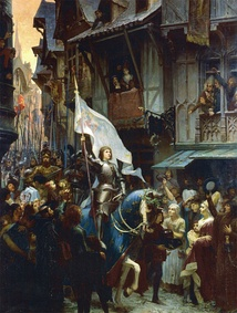 Joan of Arc enters Orléans (painting by J.J. Sherer, 1887). Joan was canonized by Pope Benedict XV in 1920.