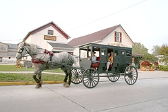 Amish buggy rides are offered in tourist-oriented Shipshewana, Indiana.
