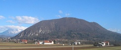 Mount Saint Mary, the highest hill in Ljubljana, with the peak Grmada reaching 676 m (2,218 ft)
