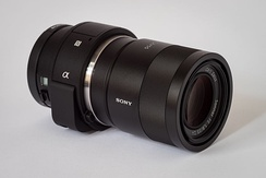 Sony Alpha ILCE-QX1, an example of a modular, lens-style camera, introduced in 2014