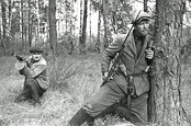 Soviet partisan fighters behind German front lines in Belarus, 1943.