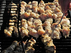Spiedies being grilled