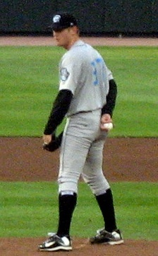 Strasburg pitching for the Syracuse Chiefs, triple-A affiliates of the Nationals, in 2010