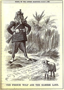 "Cartoon showing the ""French wolf"" looking across the Mekong towards the ""Siamese lamb"""