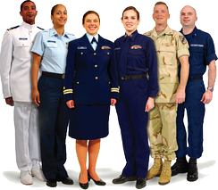 Photo showing a variety of Coast Guard uniforms. From Left: Service Dress White, Tropical Blue, Service Dress Blue, Winter Dress Blue, Camouflage Utility Uniform, Operational Dress Uniform