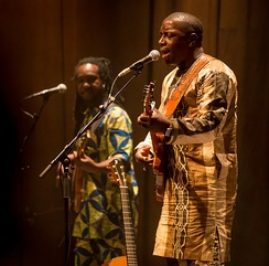 Vieux Farka Touré (right) and Valery Assouan are two international known musicians from Mali. The photograph is from a concert in Oslo in 2016.