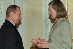 Vladimir Putin with Journal correspondent Karen Elliott House in 2002