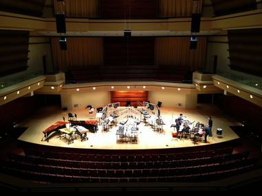 Third Coast Percussion rehearsing in Wentz Concert Hall on the campus of North Central College