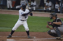 Will Rhymes bats during a 2006 Class A game between the West Michigan Whitecaps and Kane County Cougars