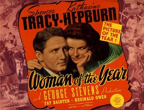 Lobby card for Woman of the Year (1942), the first of nine pictures Tracy made with Katharine Hepburn