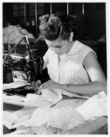 A Puerto Rican woman working in a garment factory