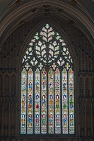 "The Great West Window (1338–39), known as ""The Heart of Yorkshire"", with curvilinear tracery in the Decorated style"