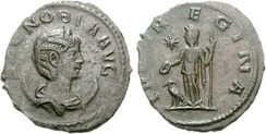 coin of Zenobia. the obverse depicting the head of a woman wearing a crown. the reverse depicts a goddess. inscriptions on both sides