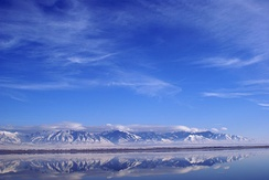 A portion of the Great Salt Lake in Utah, United States