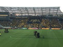 The 3252 section unveil a tifo before the second El Tráfico.