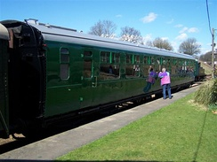 A preserved Bulleid Open Second carriage on the Bluebell Railway.