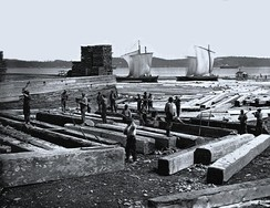 Butting square timber, Quebec City, QC, 1872.