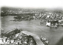 Bennelong Point with tram depot in the 1920s (top left-hand side of photograph)