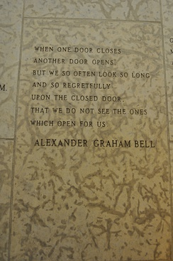 A quote by Alexander Graham Bell engraved in the stone wall within the Peace Chapel of the International Peace Garden (in Manitoba Canada and North Dakota, USA).