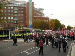 Protesters outside the BBC Television Centre, protesting against Griffin's invite to appear on Question Time