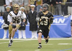 A cadet in action during the 2009 Army–Navy lacrosse game
