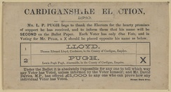 A British election campaign leaflet with an illustration of an example ballot paper, 1880