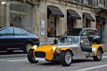 Caterham open wheeled sports car, derived from Lotus 7