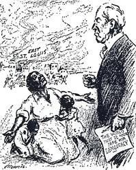 "Political cartoon about the East St. Louis massacres of 1917. The caption reads, ""Mr. President, why not make America safe for democracy?"""
