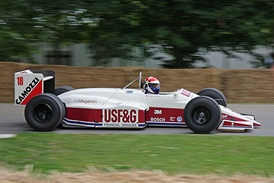 With the BMW badged as Megatron in this A10B chassis, drivers Eddie Cheever (pictured at the 2008 Goodwood Festival of Speed) and Derek Warwick ensured that 1988 was Arrows' most successful year in Formula One, thanks to frequent points finishes.