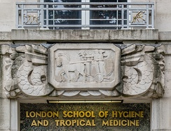 LSHTM Entrance sign and logo