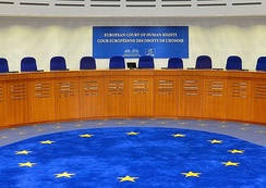 Courtroom of the European Court of Human Rights (detail).