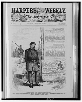 General Sheridan stands by his dispatches by Thomas Nast in Harper's Weekly, v. 19, no. 944 (January 30, 1875), p. 89.