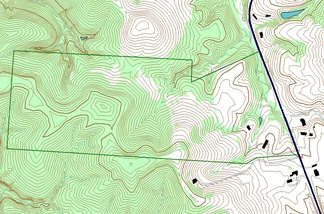 An example of use of layers in a GIS application. In this example, the forest-cover layer (light green) forms the bottom layer, with the topographic layer (contour lines) over it. Next up is a standing water layer (pond, lake) and then a flowing water layer (stream, river), followed by the boundary layer and finally the road layer on top. The order is very important in order to properly display the final result. Note that the ponds are layered under the streams, so that a stream line can be seen overlying one of the ponds.