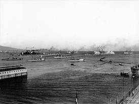 The Greek fleet assembled at Phaleron Bay on 5/18 October 1912, before sailing for Lemnos
