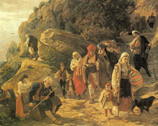 """Refugees from Herzegovina"", painting by Uroš Predić made in the aftermath of the Herzegovina Uprising (1875–77)."