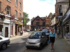 Shrewsbury is home to a wealth of independent and specialist retailers, such as those shown in High Street.