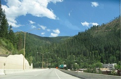 I-90 on the 1991 viaduct in Wallace, Idaho