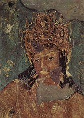 Paintings of Avalokiteshvara or Padmapani and Vajrapani on either side of the Buddha in Cave 1