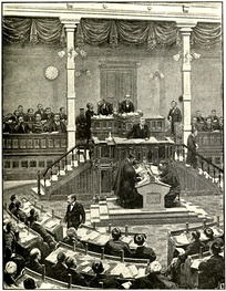 Interior of the Japanese Parliament, showing the Prime Minister speaking at the tribune from which members address the House, 1915