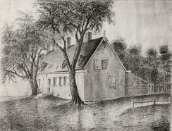 House at the Watervliet farm, built by Jeremias van Rensselaer following the April 7, 1666 flood.