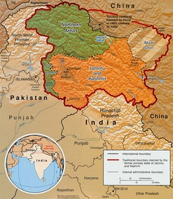 Map of Kashmir showing various geographic regions