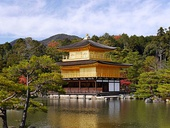"Kinkaku-ji (literally ""Temple of the Golden Pavilion""), a Zen Buddhist temple in Kyoto, originally built in 1397"