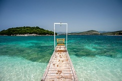 The waters of Ksamil in the extreme south of the Albanian Ionian Sea Coast.