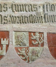 Coat of arms of Wrocław (with the inscription Civitas Wratislaviensis) in Lauf Castle, c. 1360.